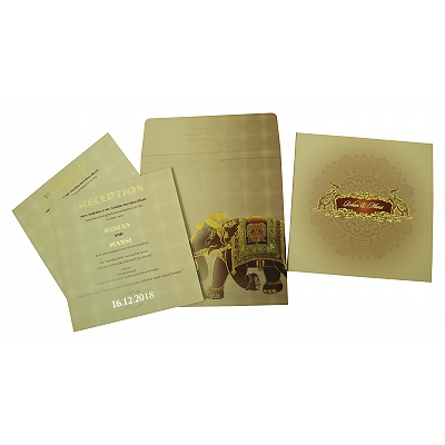 Matte Box Themed - Foil Stamped Wedding Invitation : W-1823 - 123WeddingCards