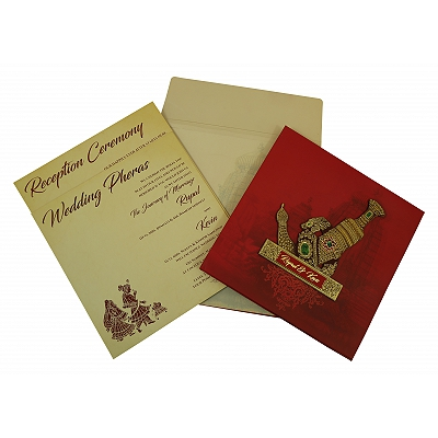 Matte Box Themed - Offset Printed Wedding Invitation : RU-1827 - 123WeddingCards