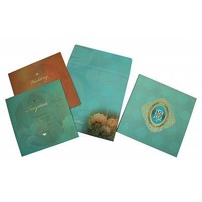 Matte Floral Themed - Foil Stamped Wedding Invitation : D-1822 - 123WeddingCards