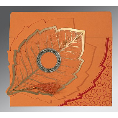 Orange Handmade Cotton Floral Themed - Foil Stamped Wedding Card : W-8219B - 123WeddingCards