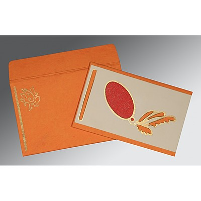 Orange Handmade Cotton Screen Printed Wedding Card : IN-2251 - 123WeddingCards