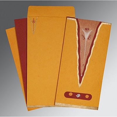 Orange Handmade Cotton Screen Printed Wedding Invitation : W-2241 - 123WeddingCards