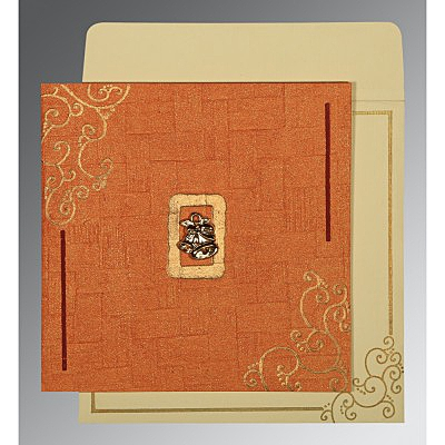 Orange Handmade Shimmer Embossed Wedding Invitation : C-1236 - 123WeddingCards