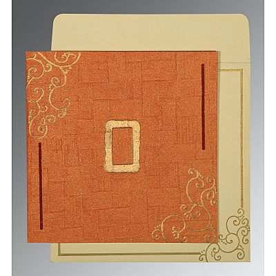 Orange Handmade Shimmer Embossed Wedding Invitation : D-1236 - 123WeddingCards