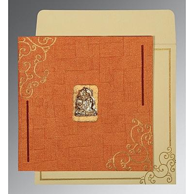 Orange Handmade Shimmer Embossed Wedding Invitation : G-1236 - 123WeddingCards