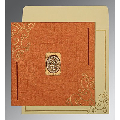 Orange Handmade Shimmer Embossed Wedding Invitations : I-1236 - 123WeddingCards