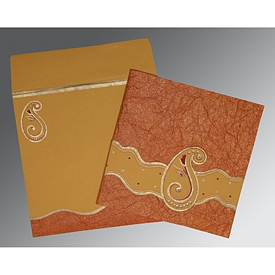 Orange Handmade Shimmer Embossed Wedding Card : IN-2248 - 123WeddingCards