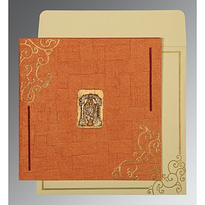 Orange Handmade Shimmer Embossed Wedding Invitation : SO-1236 - 123WeddingCards