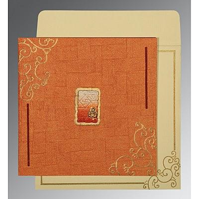 Orange Handmade Shimmer Embossed Wedding Invitation : W-1236 - 123WeddingCards
