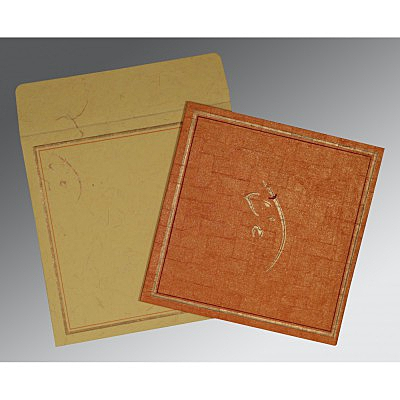 Orange Handmade Shimmer Embossed Wedding Invitation : W-2177 - 123WeddingCards