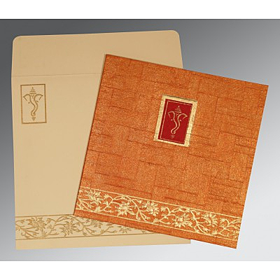 Orange Handmade Shimmer Embossed Wedding Invitation : W-2178 - 123WeddingCards