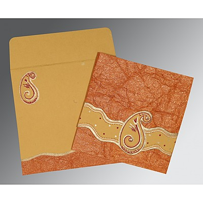Orange Handmade Shimmer Embossed Wedding Invitation : W-2252 - 123WeddingCards