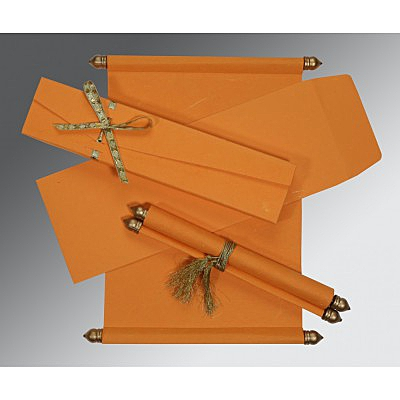 Orange Handmade Silk Wedding Card : SC-5001H - 123WeddingCards