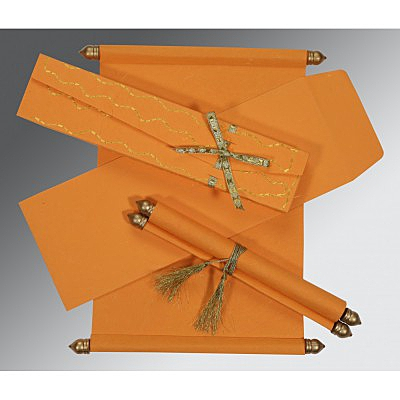 Orange Handmade Silk Wedding Card : SC-5002A - 123WeddingCards