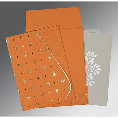 Orange Matte Floral Themed - Foil Stamped Wedding Invitation : C-8237K - 123WeddingCards