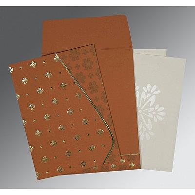 Orange Matte Floral Themed - Foil Stamped Wedding Invitation : IN-8237J - 123WeddingCards