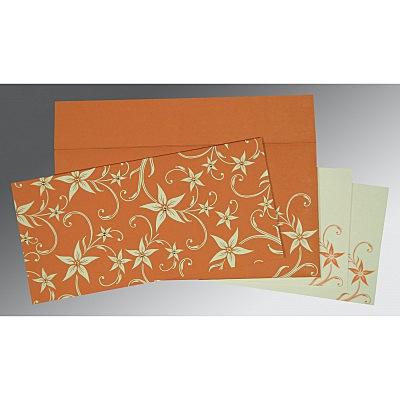 Orange Matte Floral Themed - Screen Printed Wedding Invitation : D-8225J - 123WeddingCards