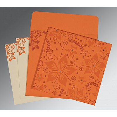 Orange Matte Floral Themed - Screen Printed Wedding Invitations : S-8240K - 123WeddingCards