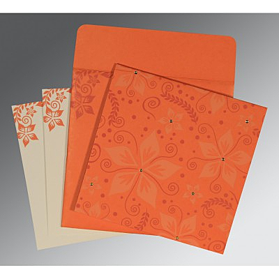 Orange Matte Floral Themed - Screen Printed Wedding Invitations : W-8240M - 123WeddingCards