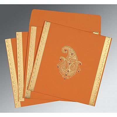 Orange Matte Paisley Themed - Embossed Wedding Invitation : D-8231N - 123WeddingCards
