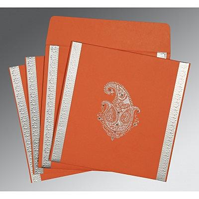 Orange Matte Paisley Themed - Embossed Wedding Invitations : S-8231M - 123WeddingCards