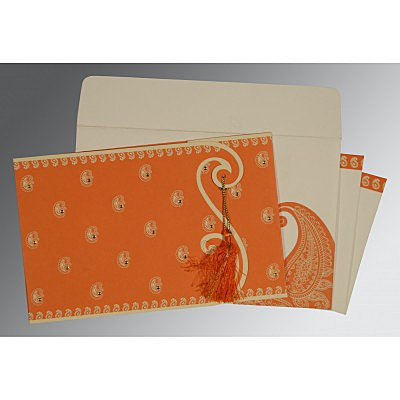Orange Matte Paisley Themed - Screen Printed Wedding Invitation : D-8252D - 123WeddingCards