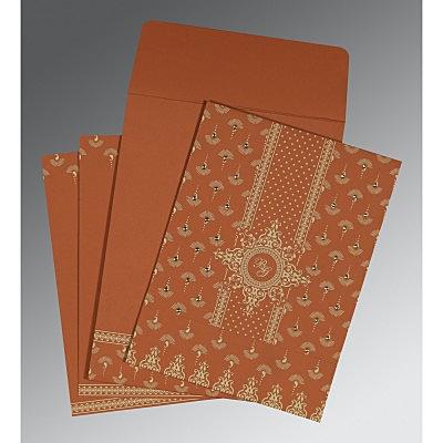 Orange Matte Screen Printed Wedding Invitations : IN-8247F - 123WeddingCards