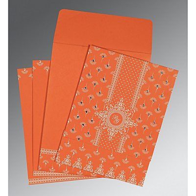 Orange Matte Screen Printed Wedding Invitation : W-8247I - 123WeddingCards
