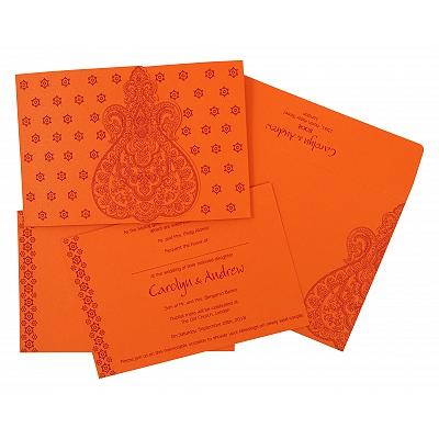 Orange Paisley Themed - Screen Printed Wedding Invitation : I-801D - 123WeddingCards