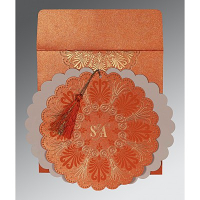 Orange Shimmery Floral Themed - Embossed Wedding Card : IN-8238F - 123WeddingCards