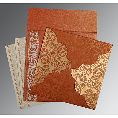Orange Shimmery Floral Themed - Screen Printed Wedding Card : I-8235G - 123WeddingCards