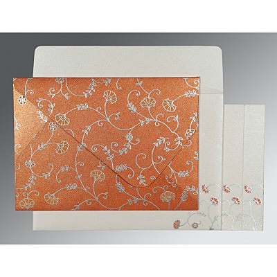 Orange Shimmery Floral Themed - Screen Printed Wedding Invitation : I-8248E - 123WeddingCards