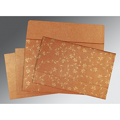 Orange Shimmery Floral Themed - Screen Printed Wedding Invitations : IN-8226E - 123WeddingCards