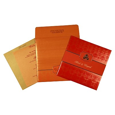 Orange Shimmery Foil Stamped Wedding Card : W-2293 - 123WeddingCards