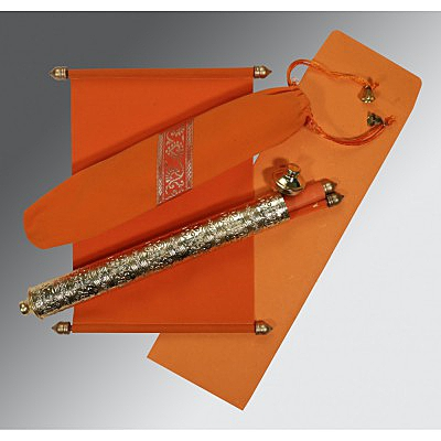 Orange Velvet Wedding Card : SC-5005G - 123WeddingCards