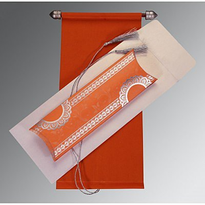 Orange Velvet Wedding Card : SC-5010J - 123WeddingCards