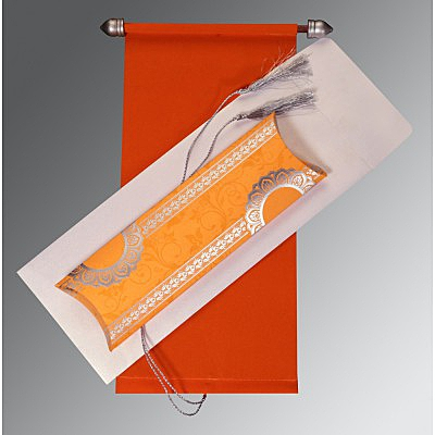 Orange Velvet Wedding Card : SC-5010K - 123WeddingCards