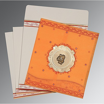 Orange Wooly Embossed Wedding Invitation : C-8202B - 123WeddingCards