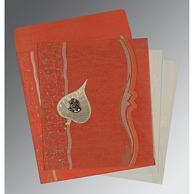 Orange Wooly Embossed Wedding Card : C-8210F - 123WeddingCards