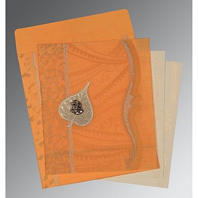 Orange Wooly Embossed Wedding Invitations : C-8210L - 123WeddingCards