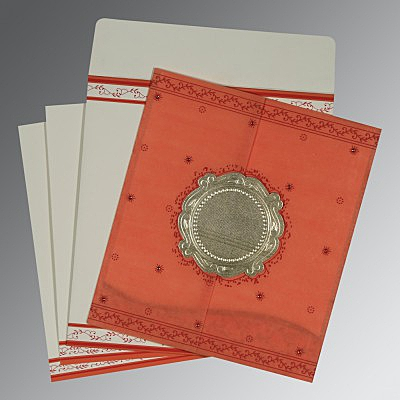 Orange Wooly Embossed Wedding Invitations : D-8202N - 123WeddingCards