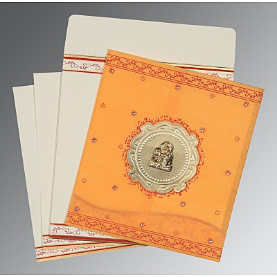 Orange Wooly Embossed Wedding Invitations : G-8202B - 123WeddingCards