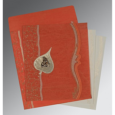 Orange Wooly Embossed Wedding Card : G-8210F - 123WeddingCards