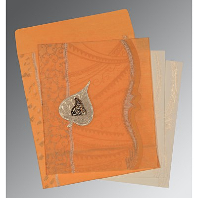 Orange Wooly Embossed Wedding Invitations : G-8210L - 123WeddingCards
