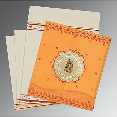 Orange Wooly Embossed Wedding Invitation : I-8202B - 123WeddingCards