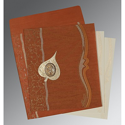 Orange Wooly Embossed Wedding Card : I-8210D - 123WeddingCards