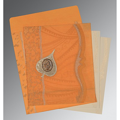 Orange Wooly Embossed Wedding Card : I-8210L - 123WeddingCards
