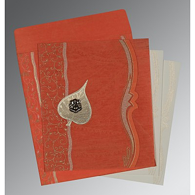 Orange Wooly Embossed Wedding Card : IN-8210F - 123WeddingCards
