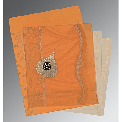 Orange Wooly Embossed Wedding Card : IN-8210L - 123WeddingCards