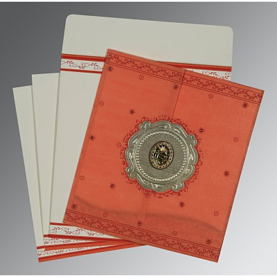 Orange Wooly Embossed Wedding Invitations : RU-8202N - 123WeddingCards